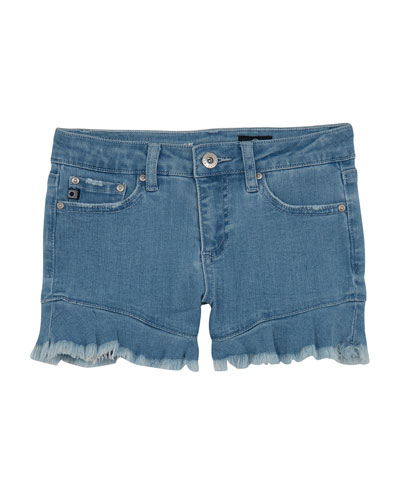 Girls' The Aria Ruffle-Hem Denim Shorts  Size 7-14
