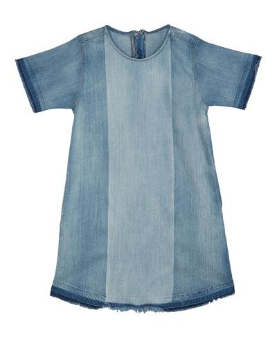 Kiki Mixed Denim Frayed Edges Dress  Size S-L