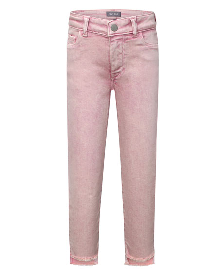 DL1961 Premium Denim Girls' Chloe Skinny Raw-Hem Acid Wash Jeans, Size 7-16