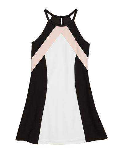 The Hope Colorblock Techno Crepe Halter Dress  Size S-XL