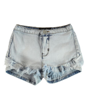 c02256fe4975 Molo Agnetha Raw Edge Ruffle Trim Denim Shorts, Size 6-14