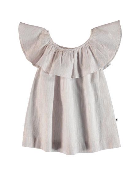 Molo Reece Metallic Striped Ruffle Collar Shirt, Size 5-14