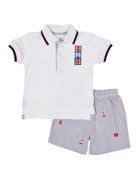 Florence Eiseman Nautical Polo Shirt w/ Seersucker Shorts, Size 12-24 Months