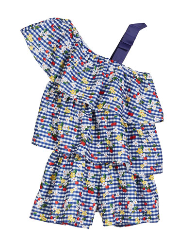 Gingham & Floral Ruffle Romper  Size 4-7