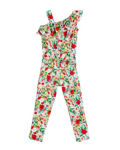 Floral-Print One-Shoulder Jumpsuit  Size 4-7