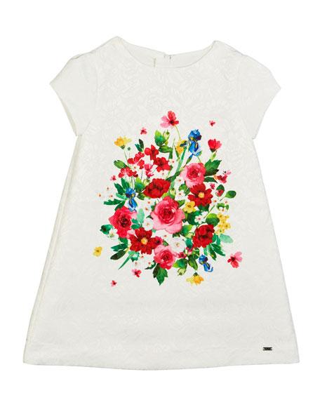 Mayoral Floral Jacquard Cap-Sleeve Dress, Size 4-7