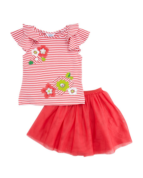 Mayoral Striped Flower Applique Tee w/ Tulle Skirt, Size 4-7