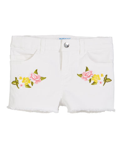 Floral Embroidered Twill Shorts  Size 4-7