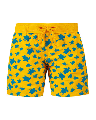 Jim Turtle-Print Swim Trunks  Size 2-14