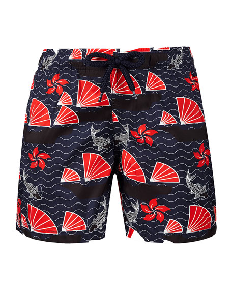 Vilebrequin Jihin Koi Pond & Fan Swim Trunks, Size 2-14