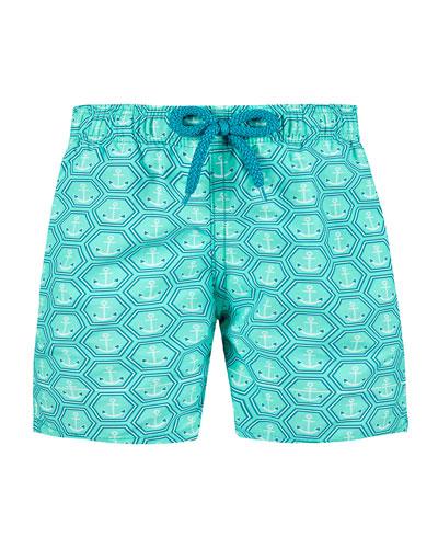 Jim Honeycomb Anchor Print Swim Trunks  Size 2-14