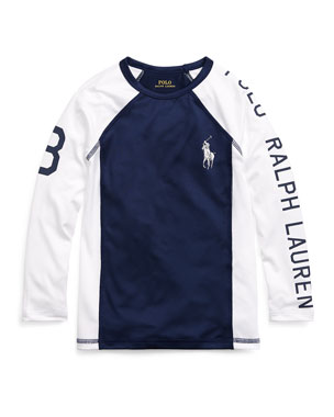 839912bb Ralph Lauren Childrenswear Two-Tone Logo Rash Guard, Size 5-7