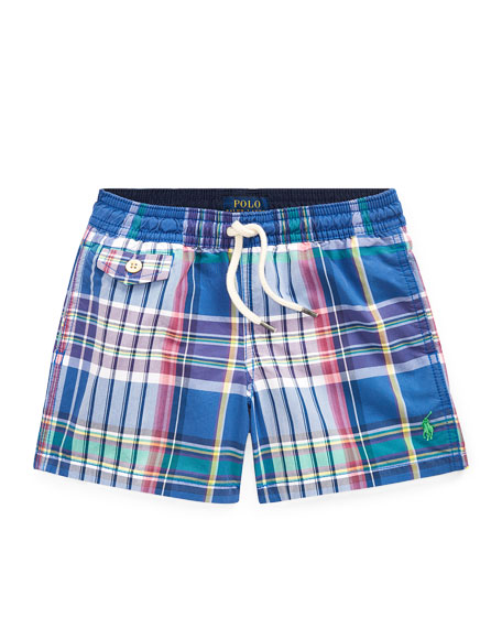 Ralph Lauren Childrenswear Plaid Swim Trunks, Size 2-4