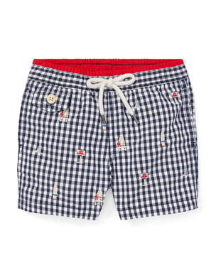 f6b27e5d3e Ralph Lauren Childrenswear Beach Icon Embroidered Gingham Swim Trunks, Size  12-24 Months