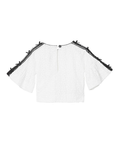Burberry Anca Lace Embroidered Fluted Sleeve Top, Size 3-14