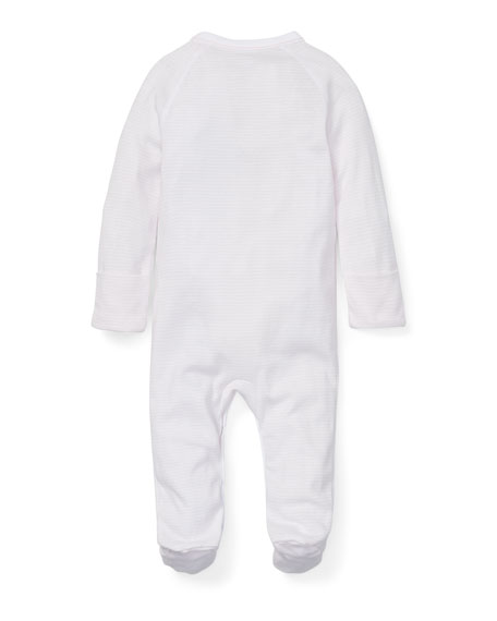 Ralph Lauren Childrenswear Striped Cotton Footie Pajamas, Size Newborn-12 Months