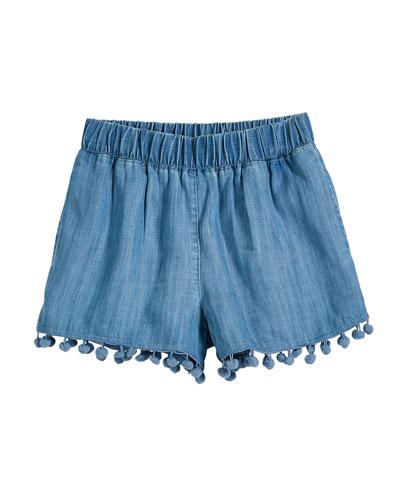 Chambray Shorts w/ Hanging Pompom Trim  Size 7-14