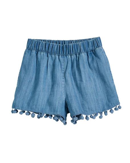 Splendid Chambray Shorts w/ Hanging Pompom Trim, Size 7-14