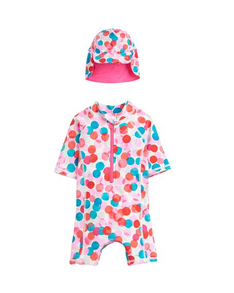 Joules Dot Print Shortall Rash Guard w/ Matching Sun Hat, Size 6-24 Months