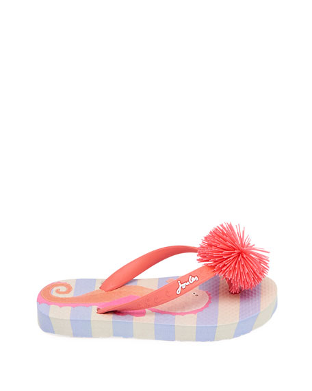 Joules Striped Flip Flop Sandals w/ Rubber Pompom, Baby/Toddler
