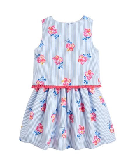 Joules Imogen Stripe & Floral Popover Dress, Size 2-6