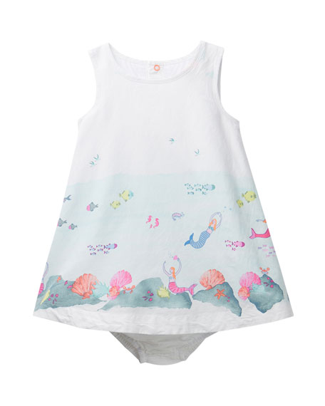 Joules Bunty Under the Sea Print Dress w/ Matching Bloomers, Size 6-24 Months