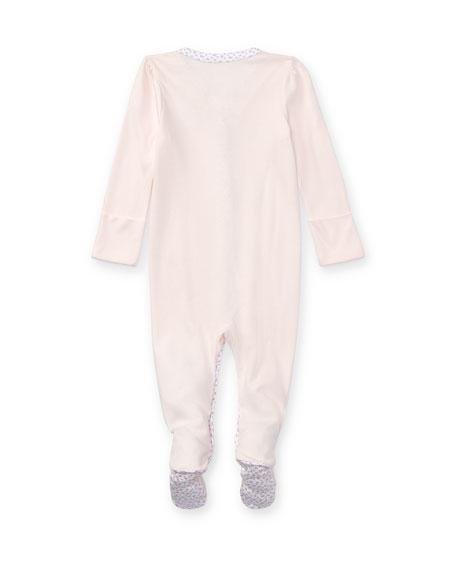Ralph Lauren Childrenswear Cotton Footie Pajamas w/ Floral Trim, Size Newborn-12 Months