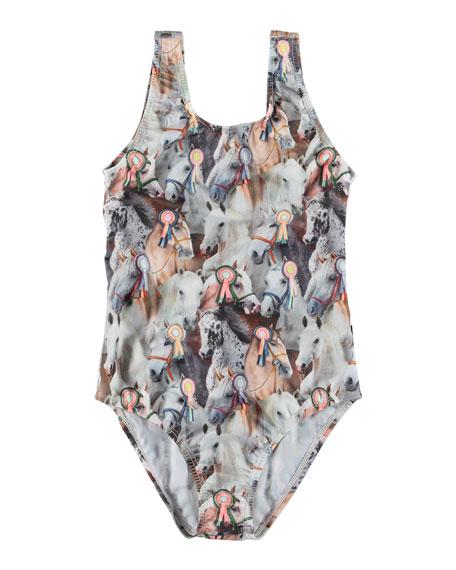 Molo Nika Show Horse Print One-Piece Swimsuit, Size 3-12
