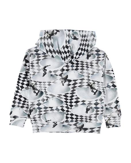 Molo Macci Skater Check Print Zip-Up Hoodie, Size 4-12