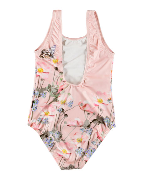 Molo Nika Butterfly Print One-Piece Swimsuit, Size 3-12