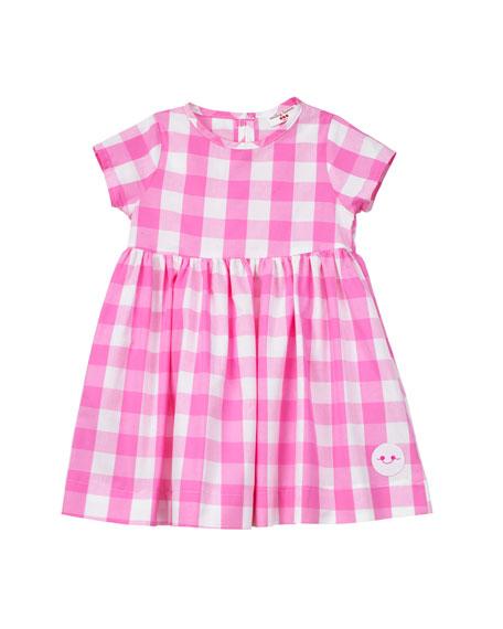 Smiling Button Bubble Gum Gingham Short-Sleeve Dress, Size 0-18 Months