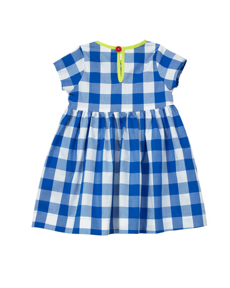 Smiling Button Gingham Short-Sleeve Dress w/ Neon Trim, Size 7-10