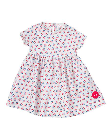 Smiling Button Cherry Print Short-Sleeve Dress, Size 0-18 Months