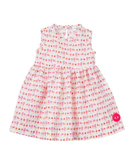 Smiling Button Summer House Sunset Print Seersucker Dress, Size 7-10