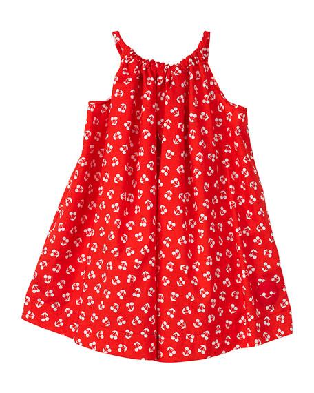 Smiling Button Cherry Print Halter Dress, Size 7-10