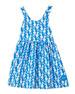 Smiling Button Sea Horse Print Sleeveless Dress, Size 7-10