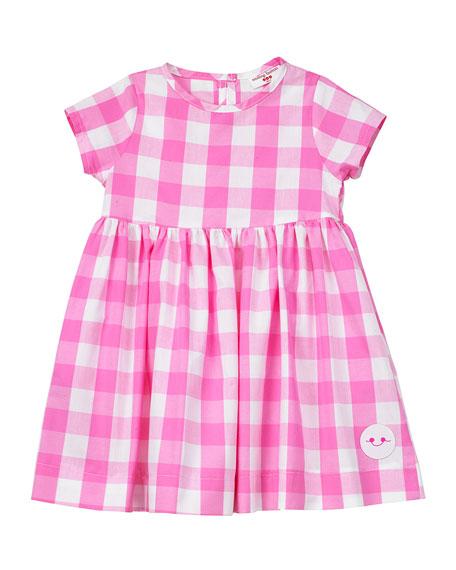 Smiling Button Bubble Gum Gingham Short-Sleeve Dress, Size 7-10