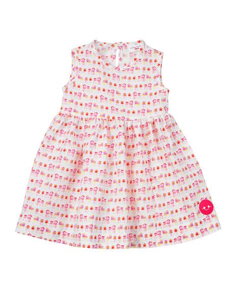 Smiling Button Summer House Sunset Print Seersucker Dress, Size 0-18 Months
