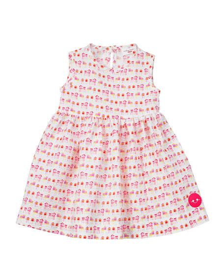 Smiling Button Summer House Sunset Print Seersucker Dress, Size 18M-6