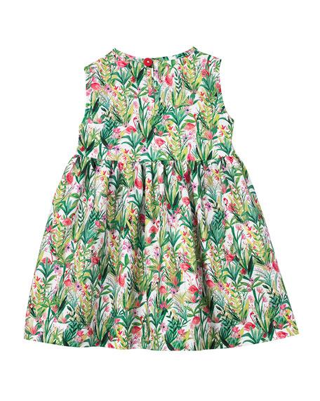 Smiling Button Flamingo Print Sleeveless Dress, Size 7-10