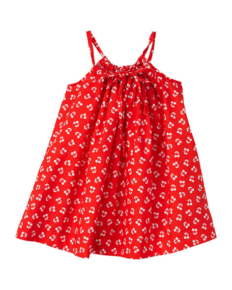 Smiling Button Cherry Print Halter Dress, Size 2-6
