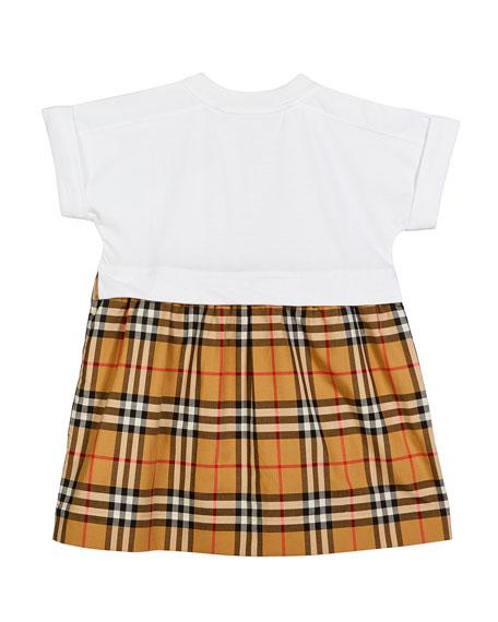 Burberry Short-Sleeve T-Shirt & Plaid Skirt Dress, Size 3-14