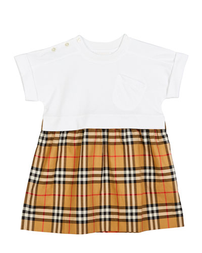 Short-Sleeve T-Shirt & Plaid Skirt Dress  Size 3-14