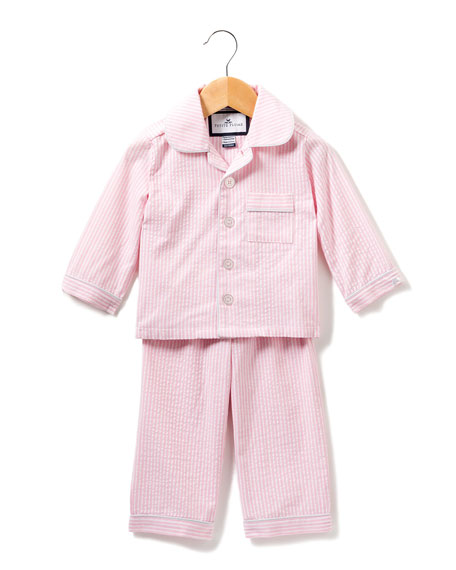 Petite Plume Stripe Seersucker Pajama Set, Size 6M-14