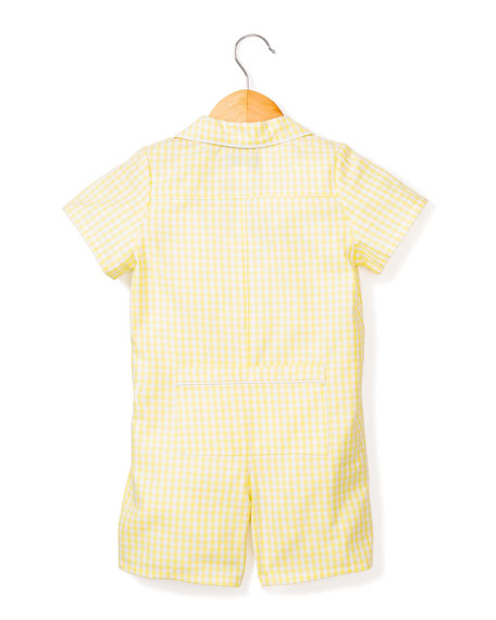 Petite Plume Gingham Summer Shortall, Size 0-24 Months