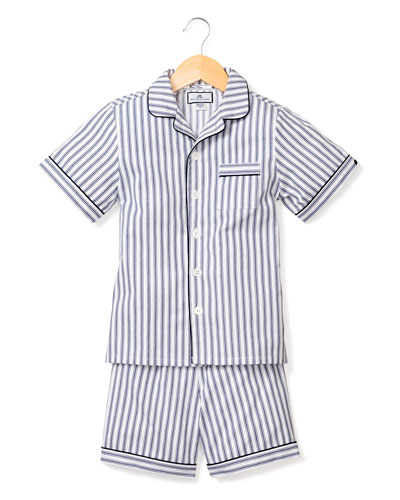 French Ticking Striped Pajama Set w/ Contrast Piping  Size 6M-14