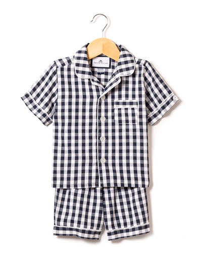 Gingham Twill Pajama Set w/ Contrast Piping  Size 6M-14