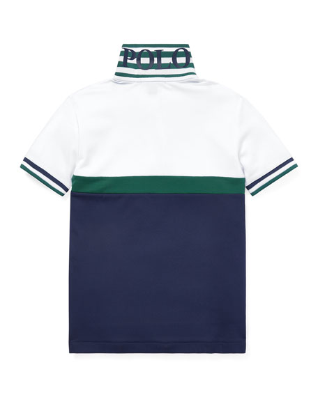 Ralph Lauren Childrenswear Colorblock Knit Polo Top, Size 2-4