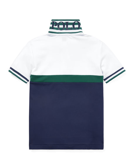 Ralph Lauren Childrenswear Colorblock Knit Polo Top, Size 5-7