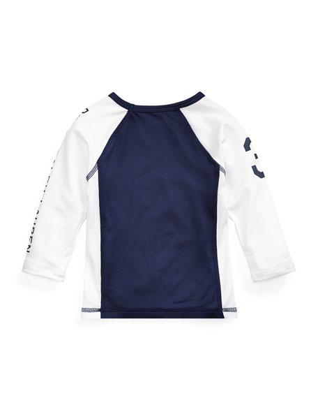 Ralph Lauren Childrenswear Two-Tone Logo Rashguard, Size 12-24 Months